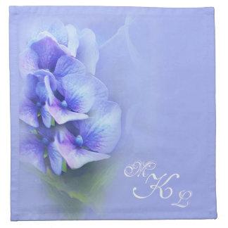 Blue Hydrangea monogram Napkin