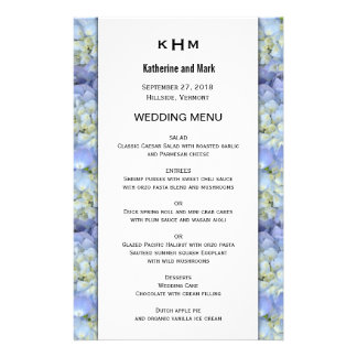 Blue Hydrangea Monogram Wedding Menu Template