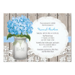 Blue Hydrangea Monogrammed Mason Jar Bridal Shower Card at Zazzle