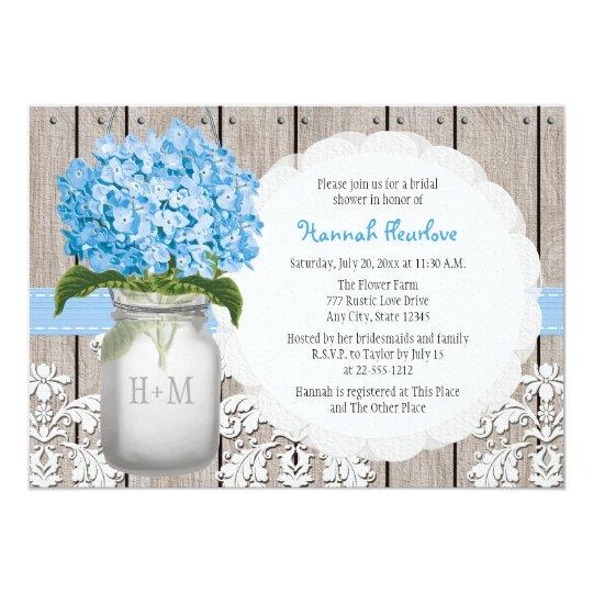 77eb997fd761 Blue Hydrangea Monogrammed Mason Jar Bridal Shower Invitation ...