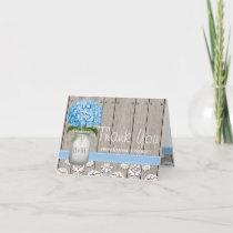 BLUE Hydrangea Monogrammed Mason Jar THANK YOU