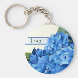 Blue Hydrangea Name Template Keychain