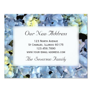 Blue Hydrangea New Address 4.25x5.5 Paper Invitation Card