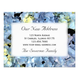 Blue Hydrangea New Address Personalized Invitation
