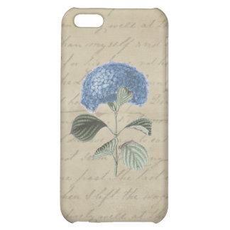 Blue Hydrangea on Vintage Calligraphy iPhone 5C Case