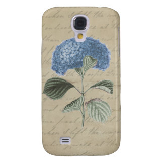 Blue Hydrangea on Vintage Calligraphy Paper Galaxy S4 Cases
