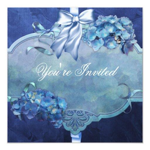 """Blue Hydrangea Party 5.25"""" Square Invitation Card"""