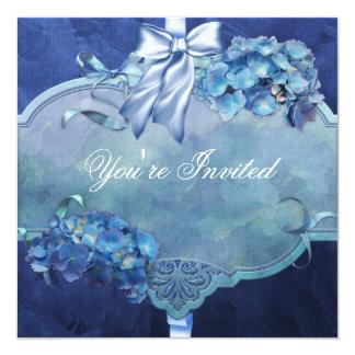 Blue Hydrangea Party Custom Invites