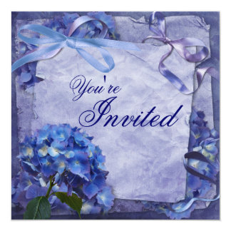 Blue Hydrangea Party Personalized Announcement