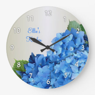 Blue Hydrangea Personalized Numbered Wall Clock