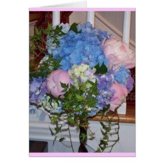 Blue Hydrangea Pink Peonies Greeting Card