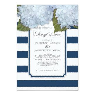 Blue Hydrangea Rehearsal Dinner Navy Stripe Modern Card