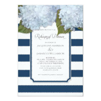 Blue Hydrangea Rehearsal Dinner Navy Stripe Modern Invitation