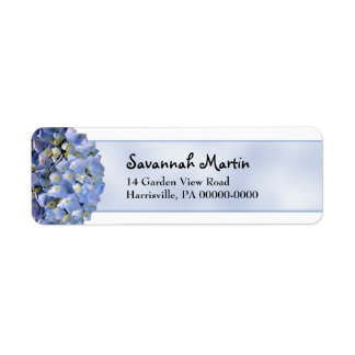 Blue Hydrangea Return Address Label