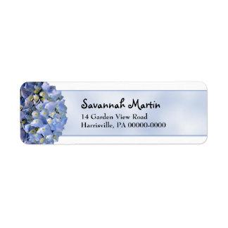Blue Hydrangea Return Address Label