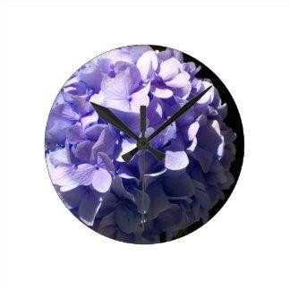 Blue Hydrangea Round Clock