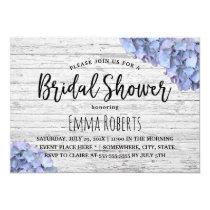 Blue Hydrangea Rustic Wedding Bridal Shower Invitation