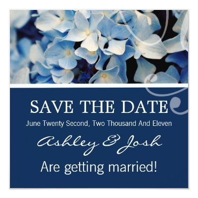 Blue Hydrangea Save The Date Invites