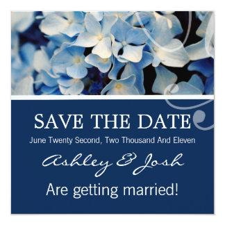 """Blue Hydrangea Save The Date Invites 5.25"""" Square Invitation Card"""