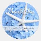 Blue Hydrangea Starfish Thank You Wedding Classic Round Sticker