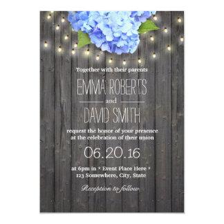 Blue Hydrangea & String Lights Barn Wood Wedding Card