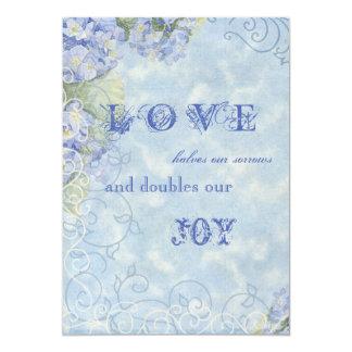 Blue Hydrangea Swirl Floral Vintage Style Invite