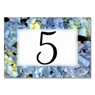 Blue Hydrangea Table Numbers Table Card