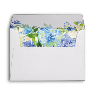Blue Hydrangea Watercolor Floral for 5x7 card Envelope