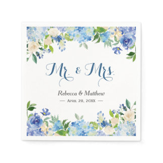 Blue Hydrangea Watercolor Floral Mr & Mrs Wedding Paper Napkin