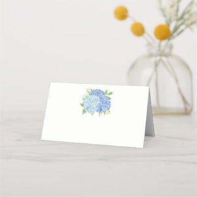 Blue Hydrangea Watercolor Floral Wedding Place Card