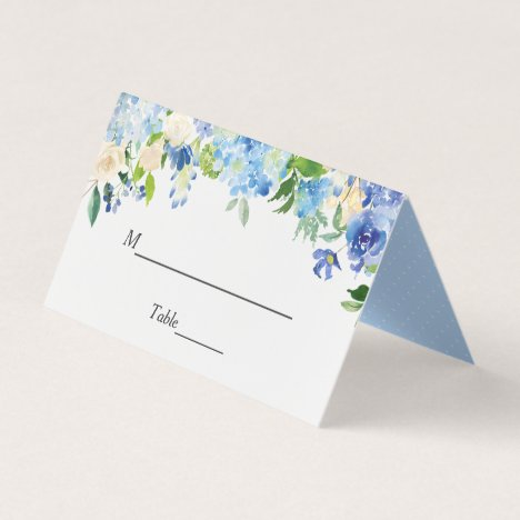 Blue Hydrangea Watercolor Floral Wedding Table Place Card
