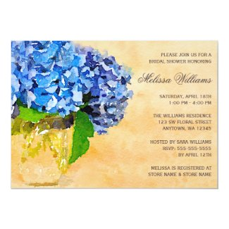 Blue Hydrangea Watercolor Mason Jar Bridal Shower 5x7 Paper Invitation Card