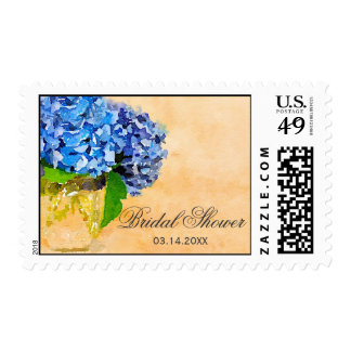 Blue Hydrangea Watercolor Mason Jar Bridal Shower Stamps