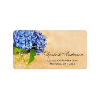 Blue Hydrangea Watercolor Mason Jar Address Label