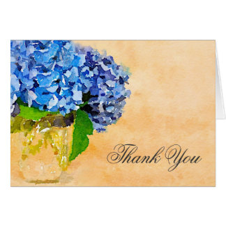 Blue Hydrangea Watercolor Mason Jar Thank You Stationery Note Card
