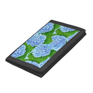 Blue hydrangea waterolor pattern trifold wallet