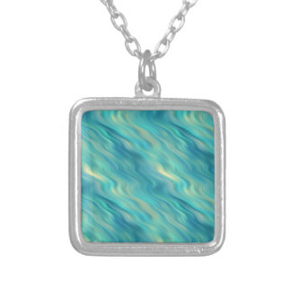 Blue Hydrangea Wavy Texture Silver Plated Necklace