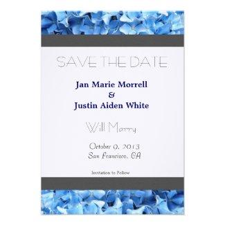 Blue Hydrangea Wedding Announcement