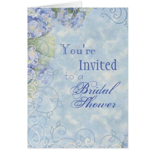 Blue Hydrangea, Wedding Bridal Shower Invitation Card