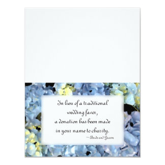 Blue Hydrangea Wedding Charity Favor Card