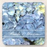 Blue Hydrangea Wedding Cork Coaster Set