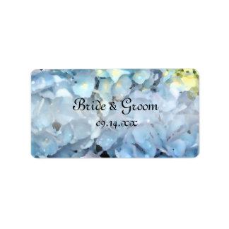 Blue Hydrangea Wedding Favor Tags Horizontal