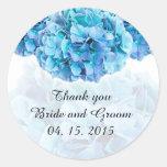 Blue hydrangea wedding favor tags hydrangea3 classic round sticker