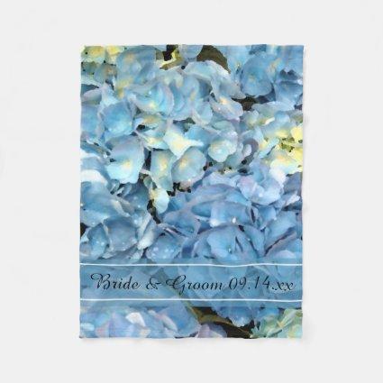 Blue Hydrangea Wedding Fleece Blanket