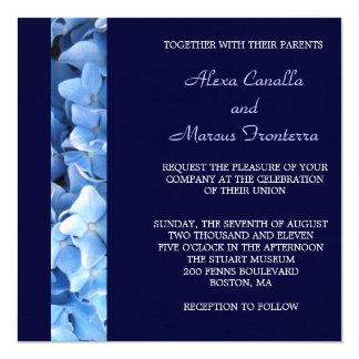 Blue Hydrangea Wedding Invitation - Two-sided