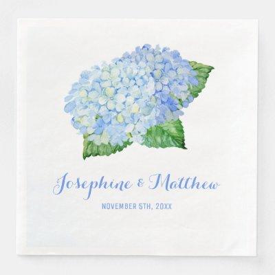 Blue Hydrangea Wedding Paper Dinner Napkins