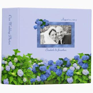 Blue Hydrangea Wedding Photo Binder, 2 inch 3 Ring Binder