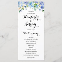 Blue Hydrangea Wedding Program Cards