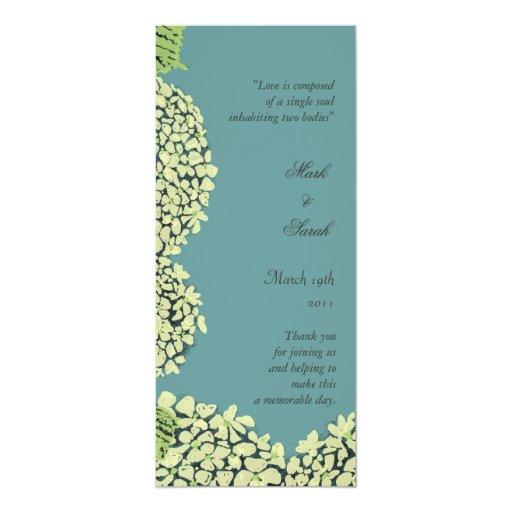 Blue Hydrangea Wedding Program Personalized Invite
