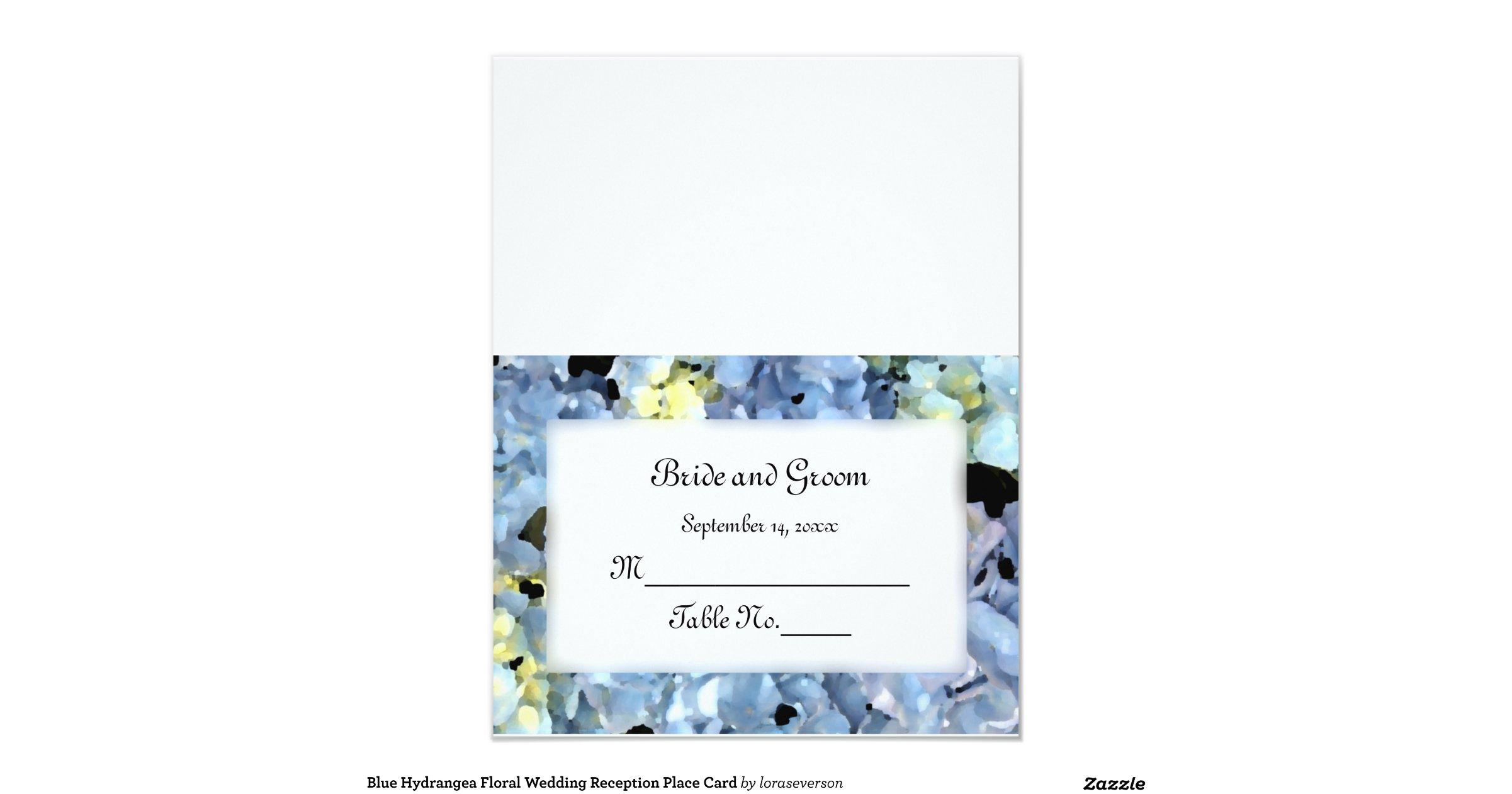 Blue Hydrangea Wedding Reception Place Card Rb6bae7826d404903beb2f517200ca8aa